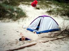 Wolin, czerwiec 2003 - Obozowisko na plaży